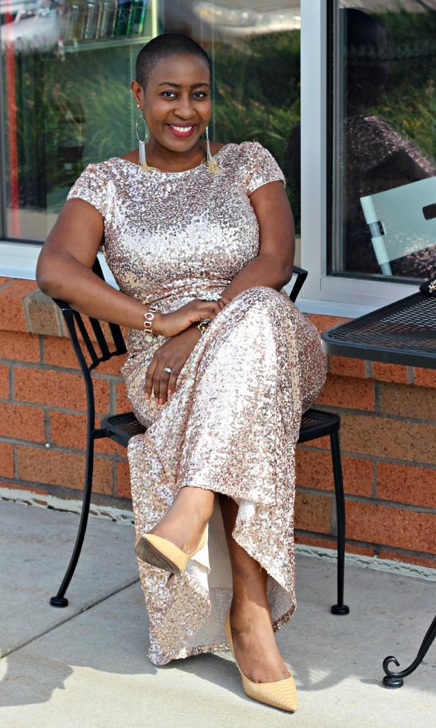 Badgley Mischka Sparkly Gold rose dress 7