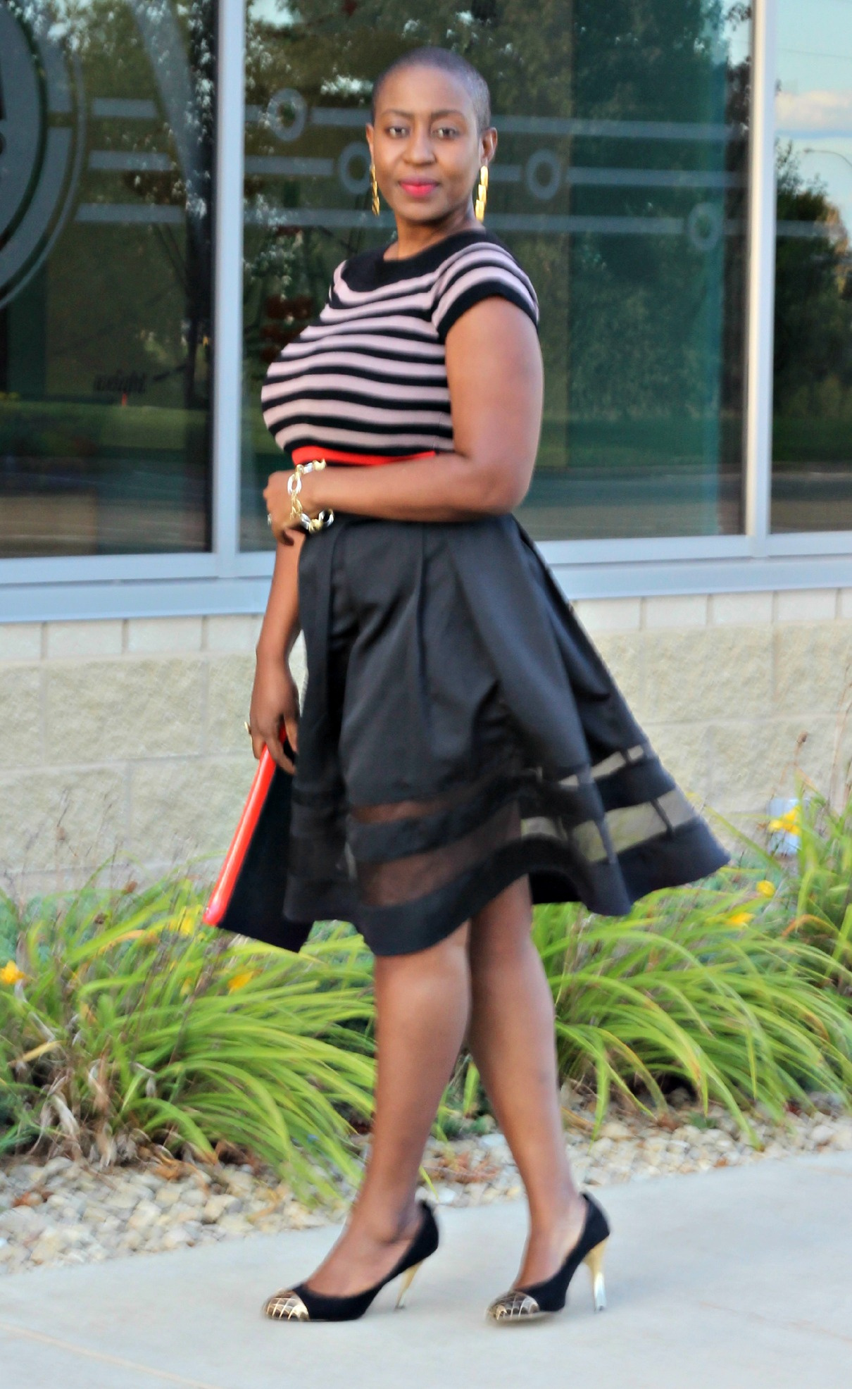 Black sheer Midi Skirt 1