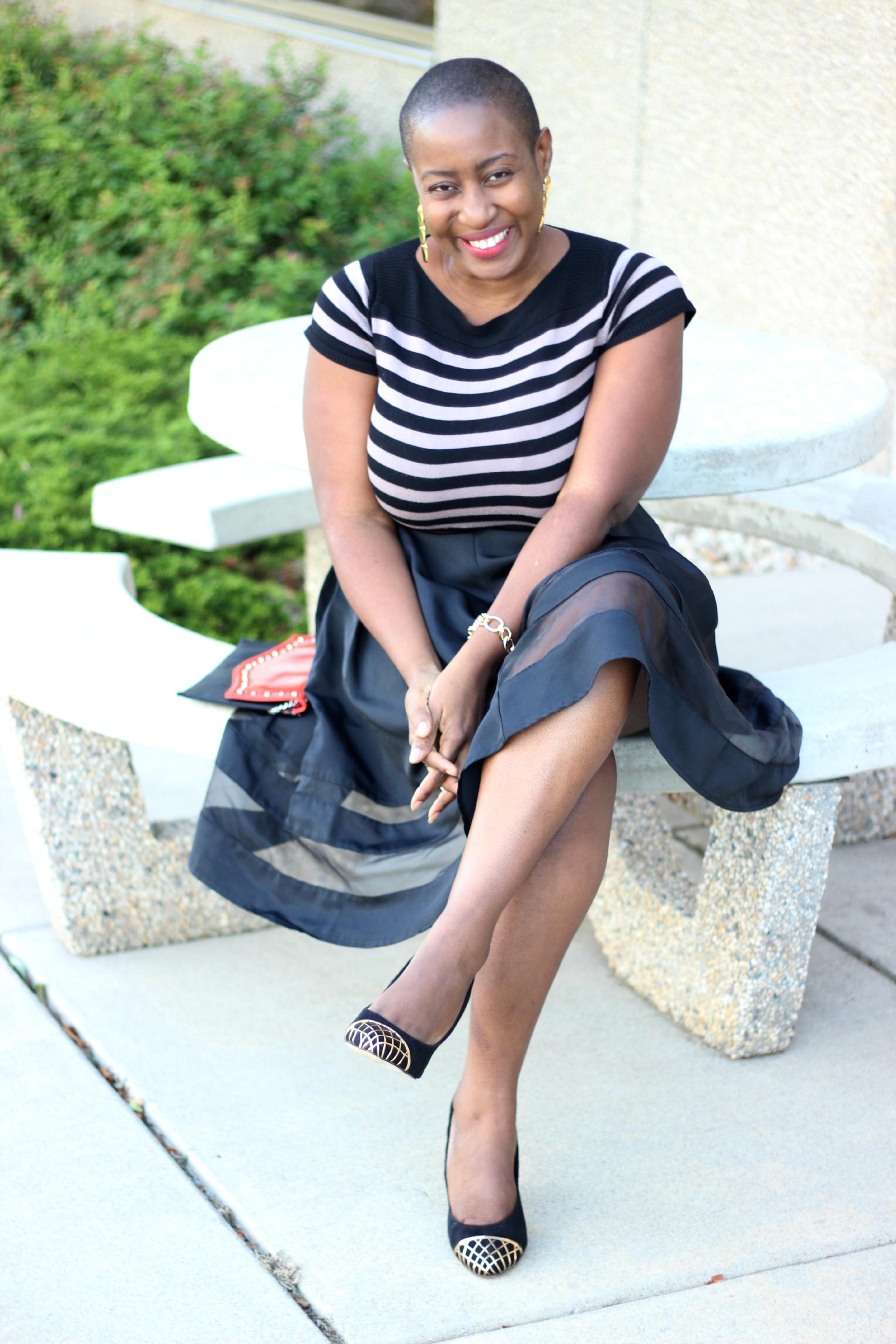 Black sheer Midi Skirt 10