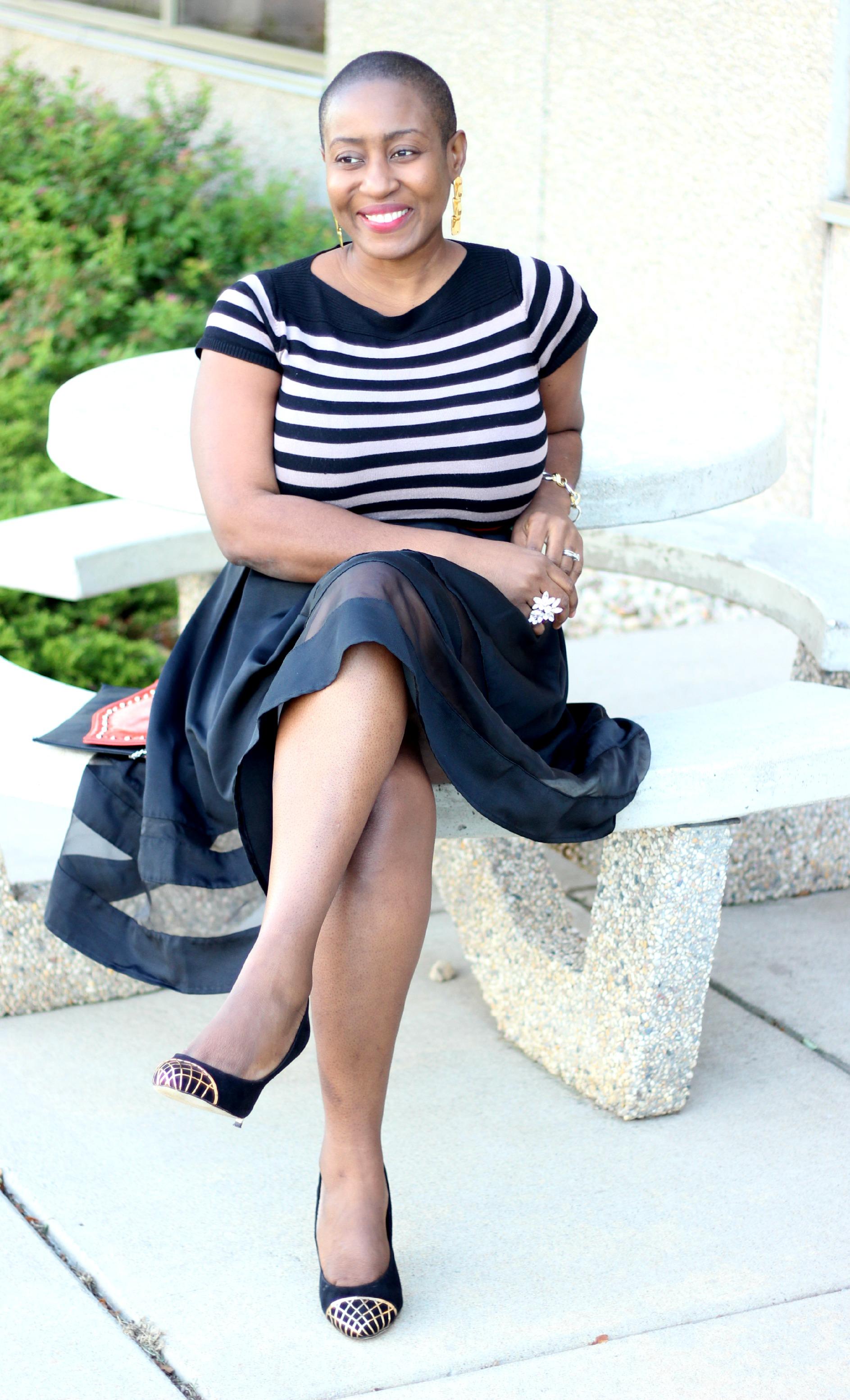 Black sheer Midi Skirt 12