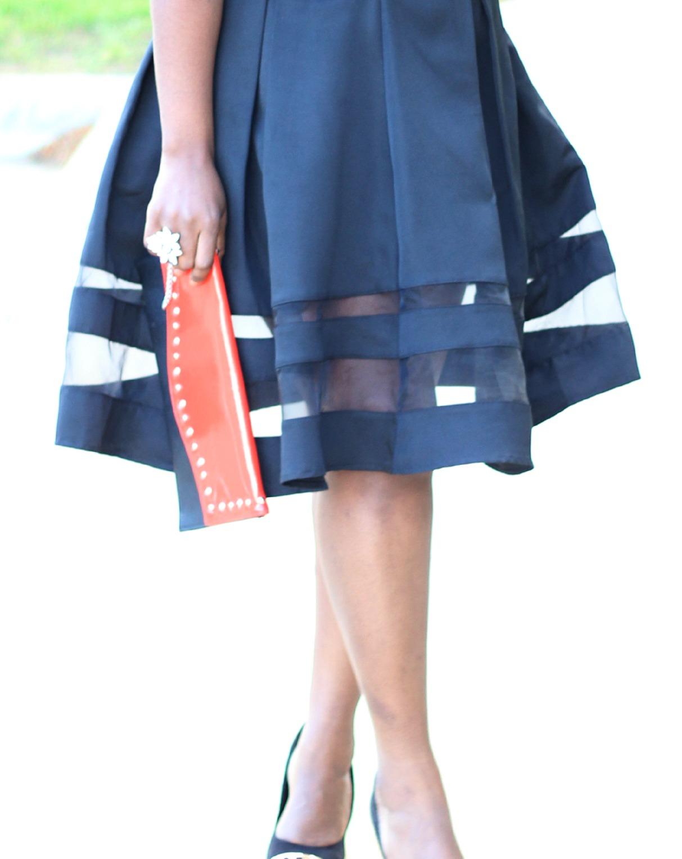 Black sheer Midi Skirt 31