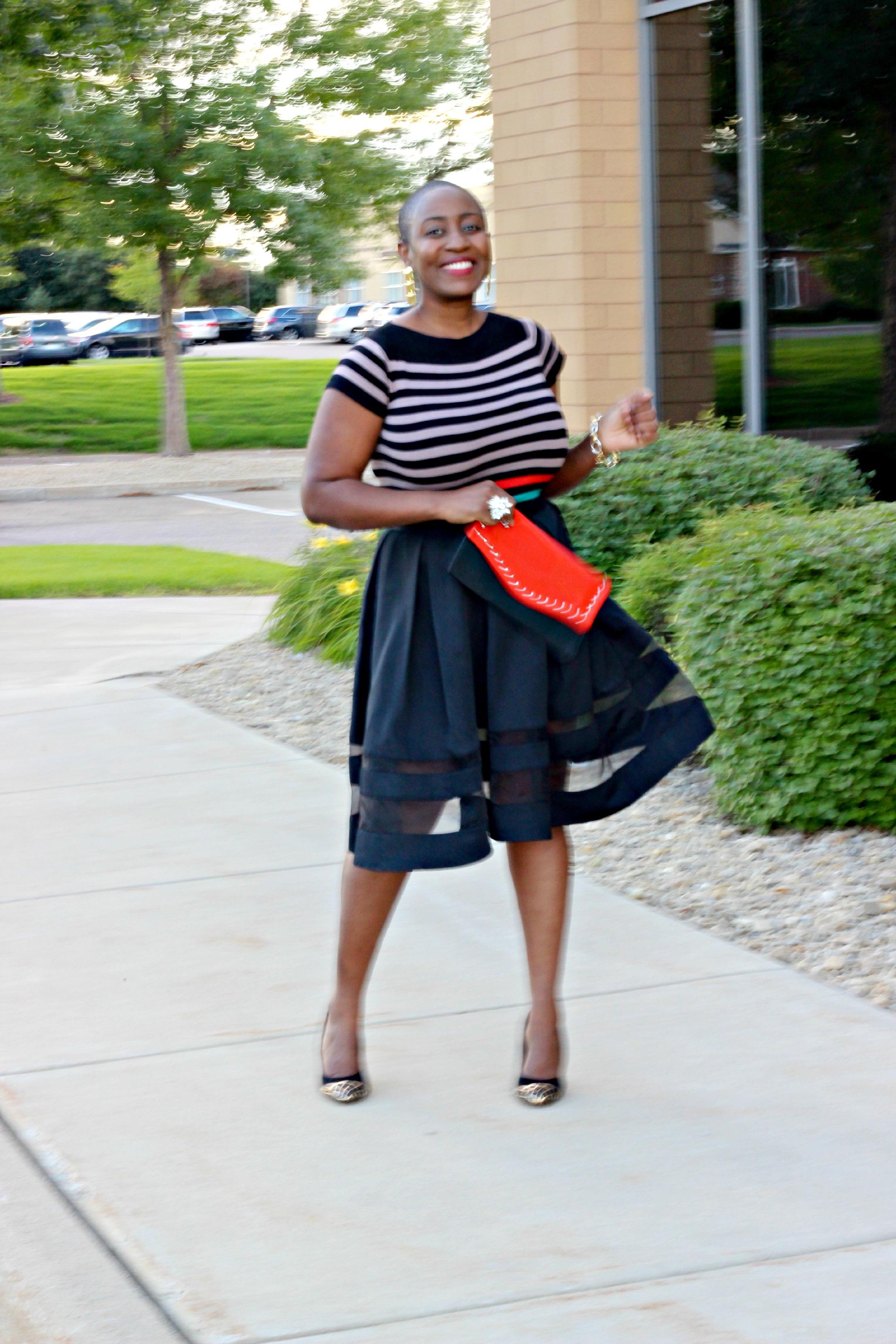 Black sheer Midi Skirt 4
