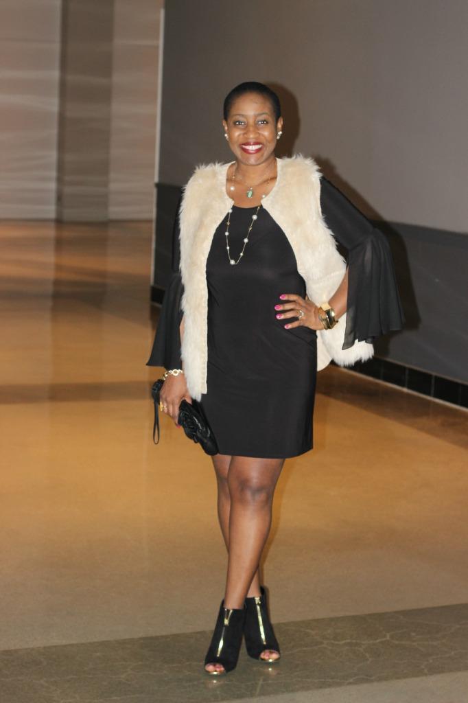 Minimalist Chic –  The LBD + Faux Fur