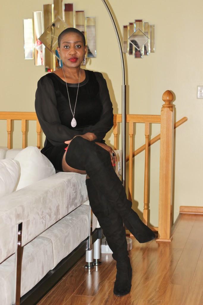 Black dress & boots 1