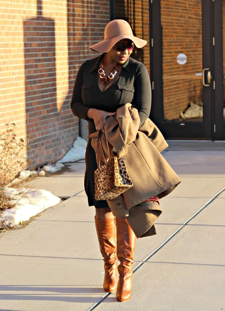 Wrap dress and oversized coat 29