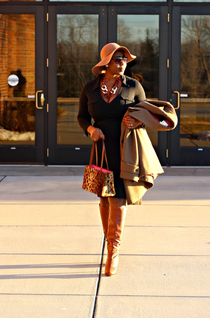 Wrap dress and oversized coat