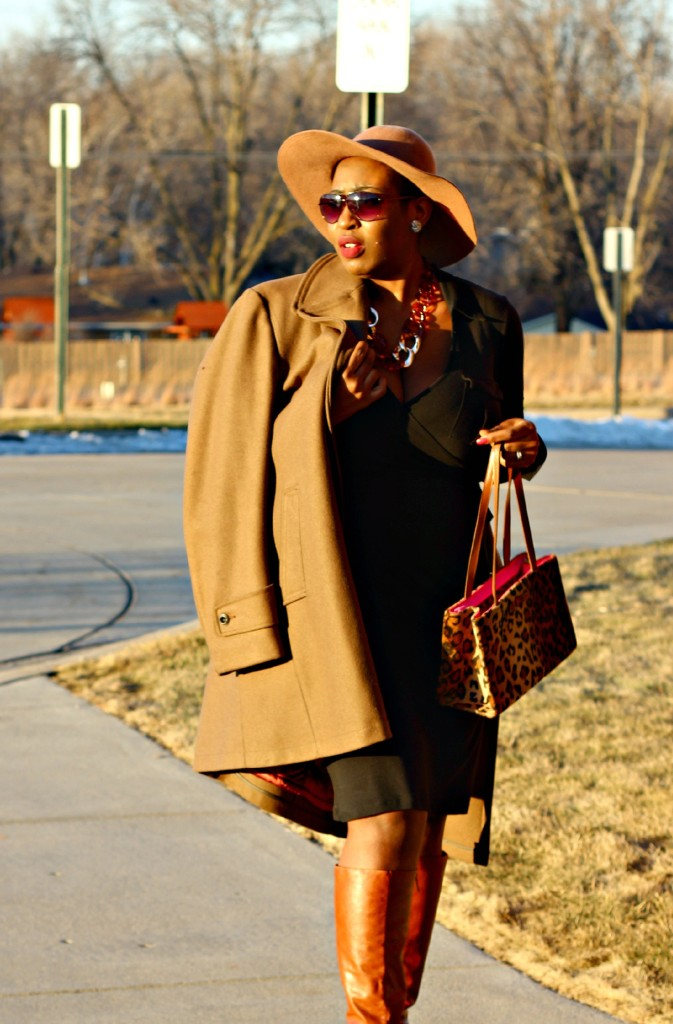 Wrap dress and oversized coat10