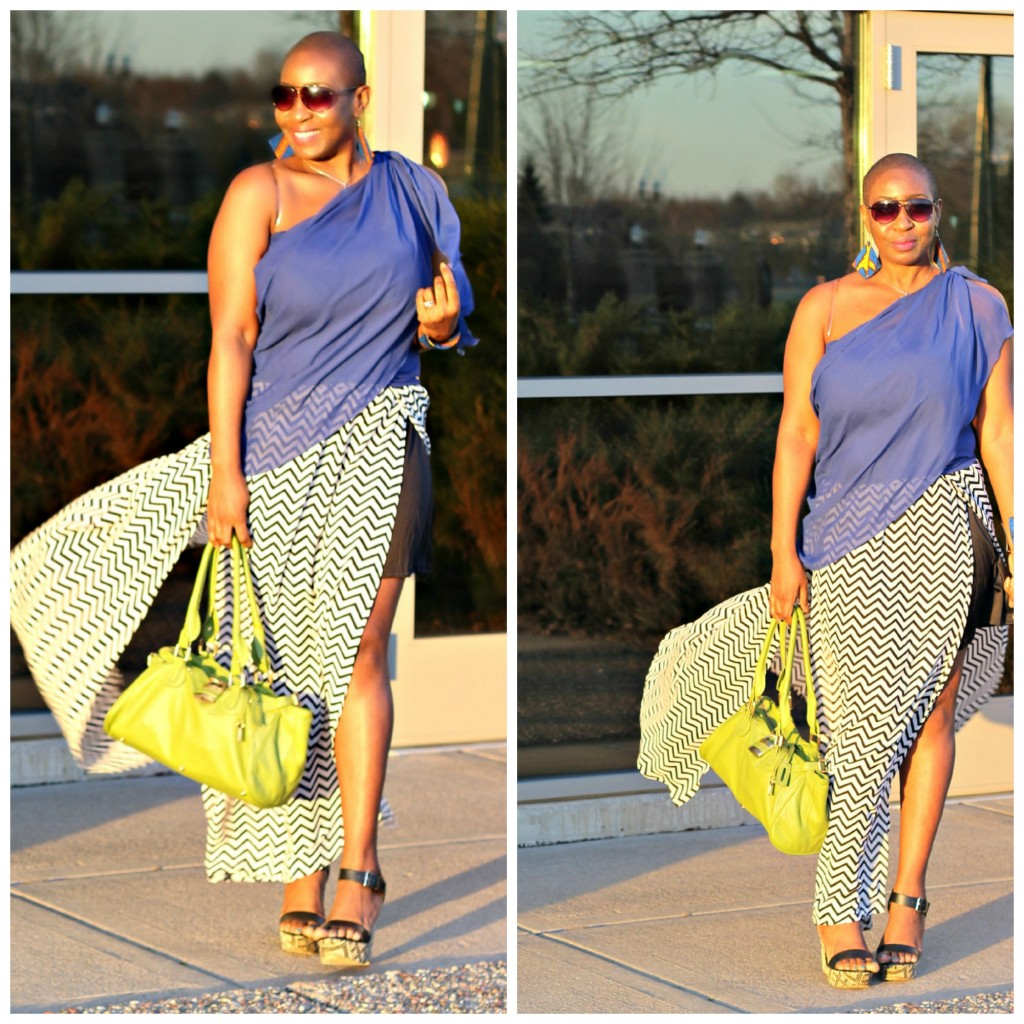 Chevron maxi skirt Collage