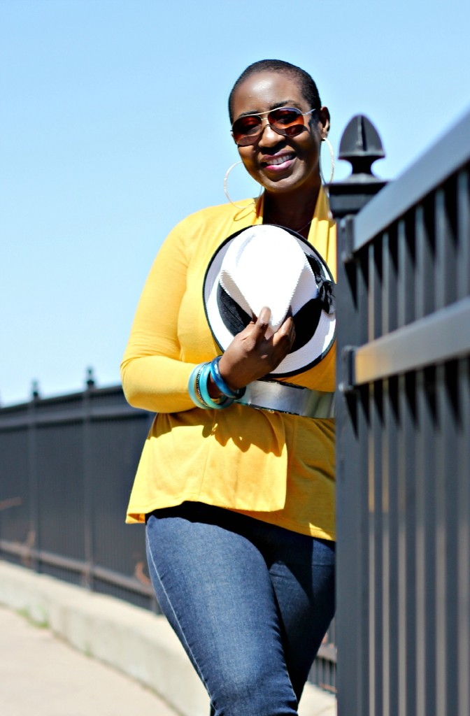 Flare jeans and belted yellow cardigan 1