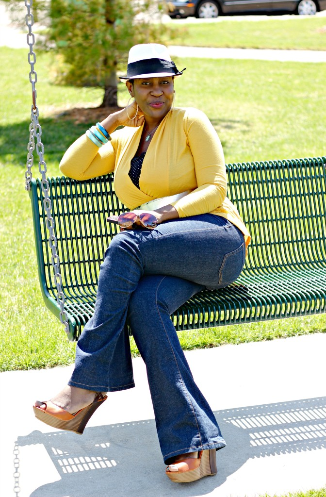 Flare jeans and belted yellow cardigan 11