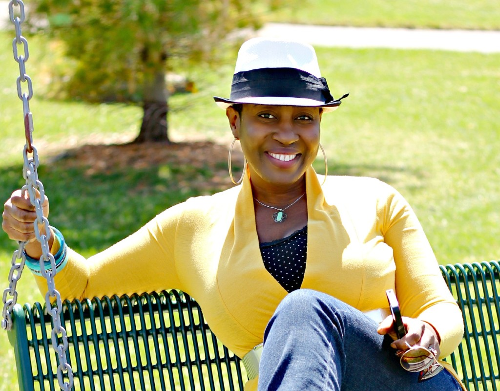 Flare jeans and belted yellow cardigan 12