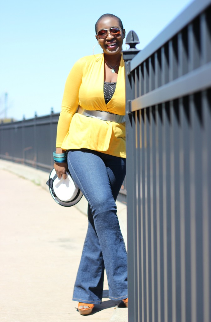 Flare jeans and belted yellow cardigan 2