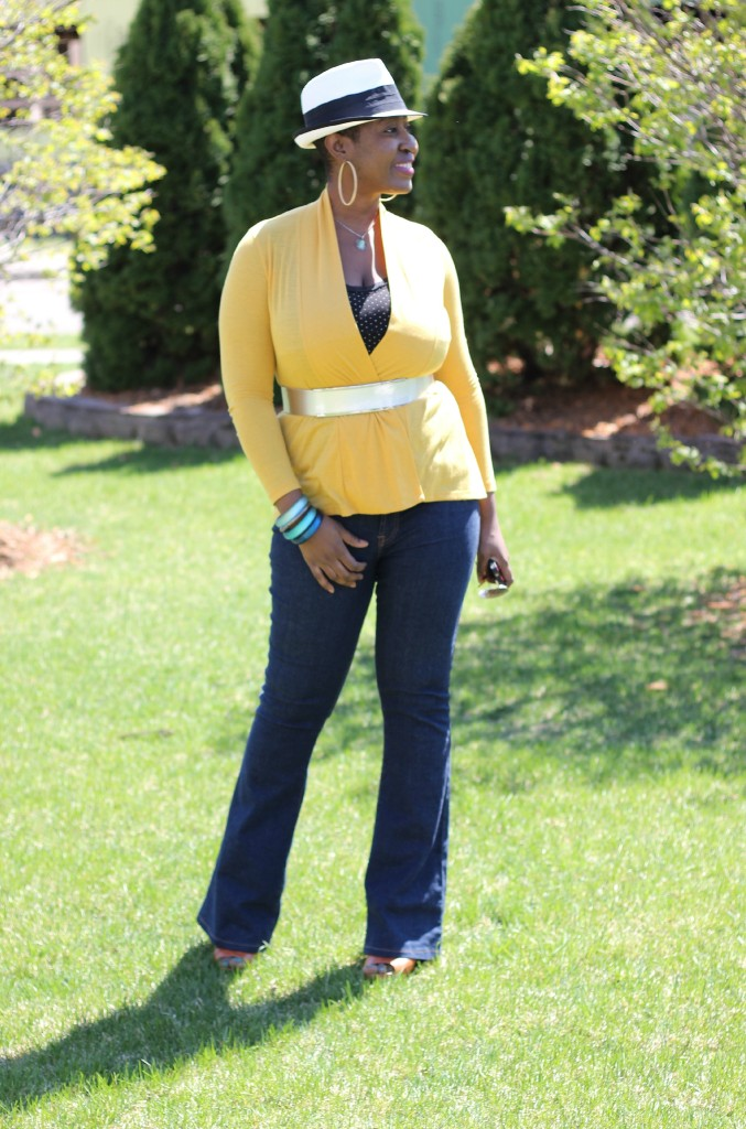Flare jeans and belted yellow cardigan 27