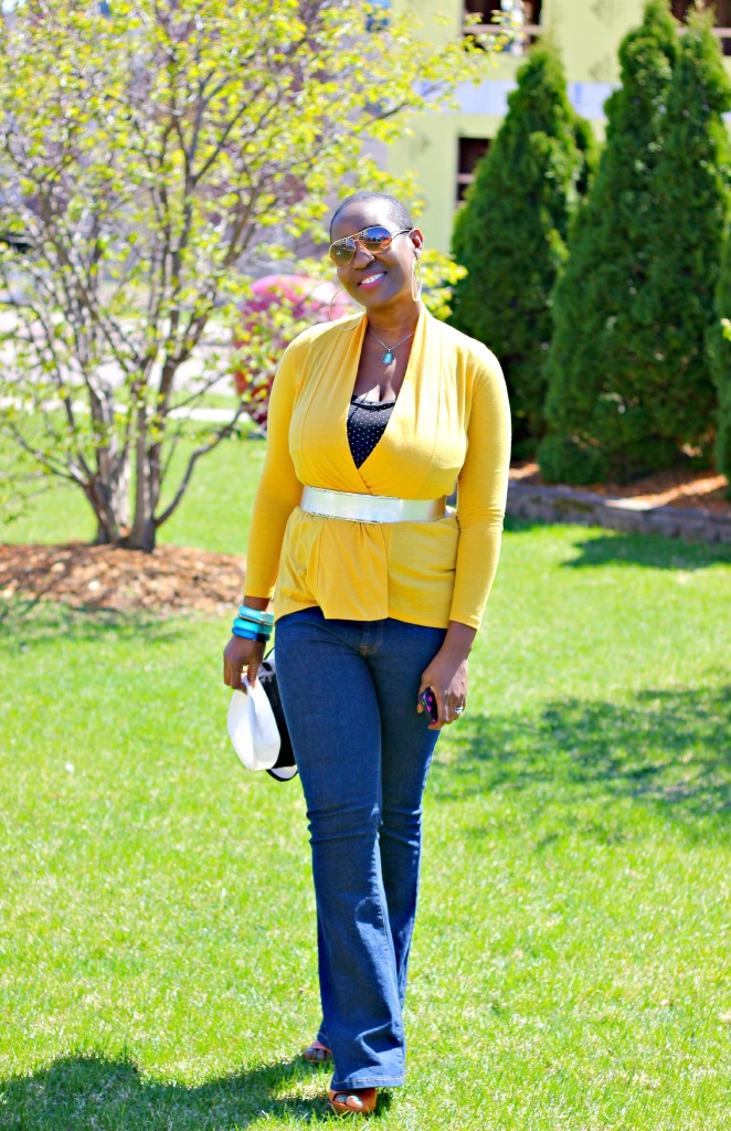 Flare jeans and belted yellow cardigan 28