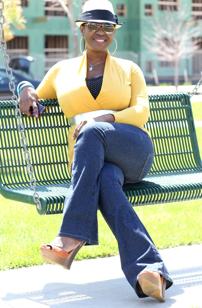 Flare jeans and belted yellow cardigan 6