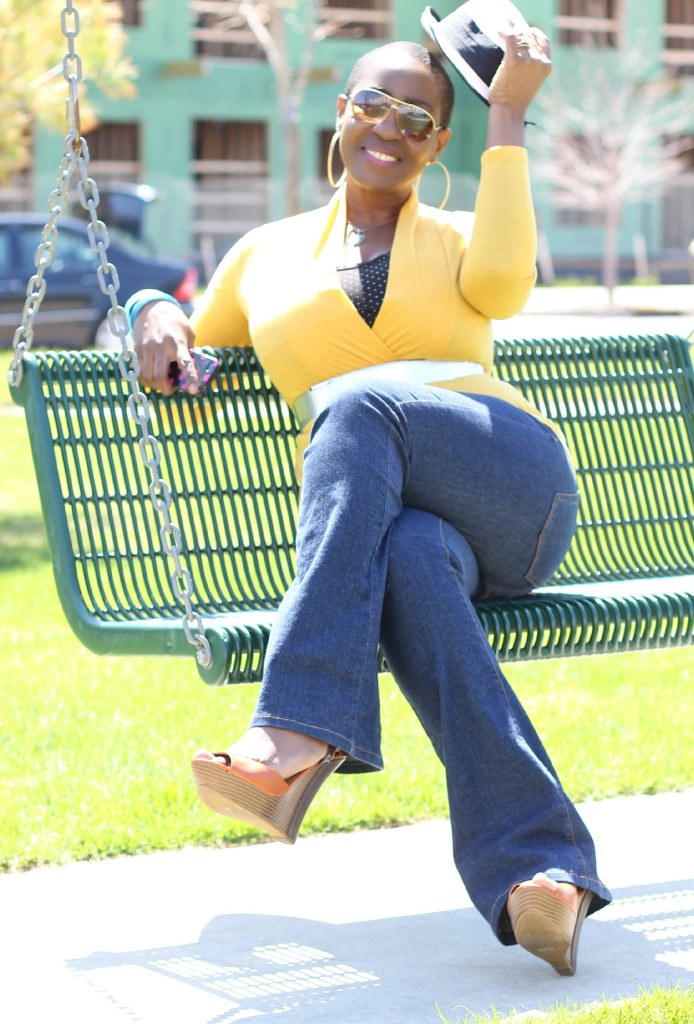 Flare jeans and belted yellow cardigan 7