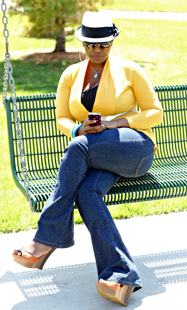 Flare jeans and belted yellow cardigan 8