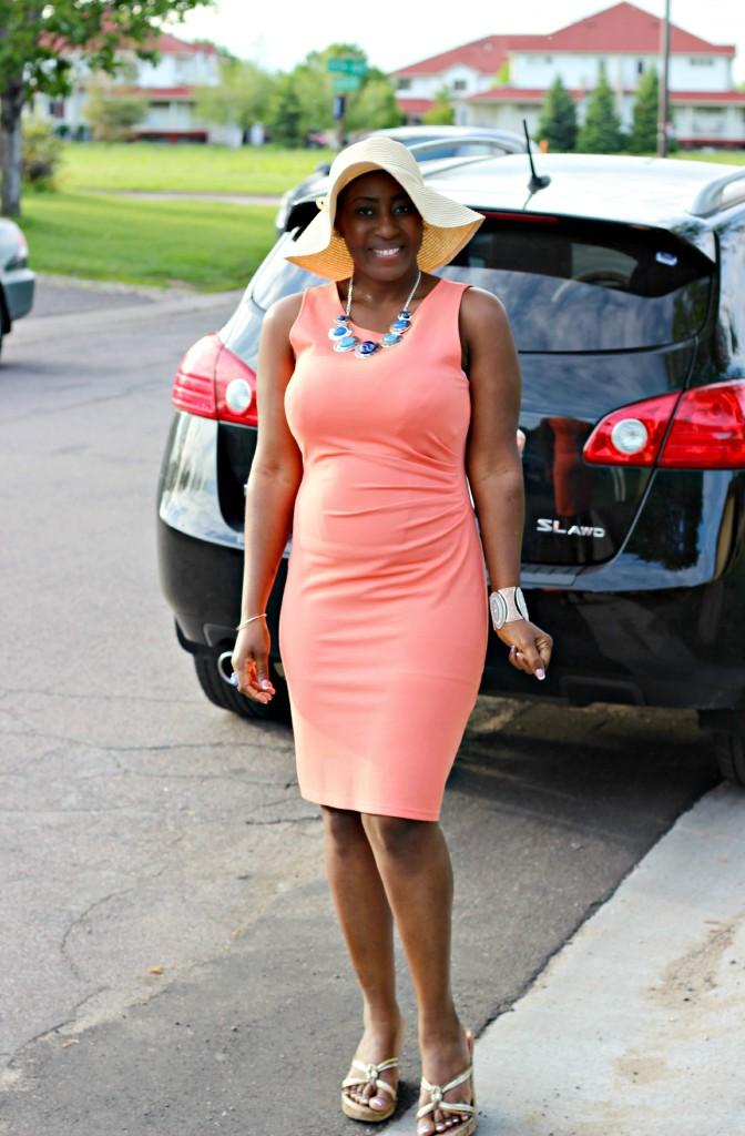 Summer peach dress18