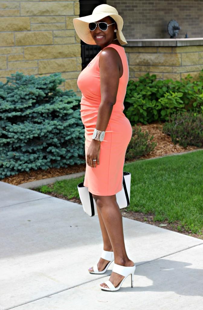 Summer peach dress19