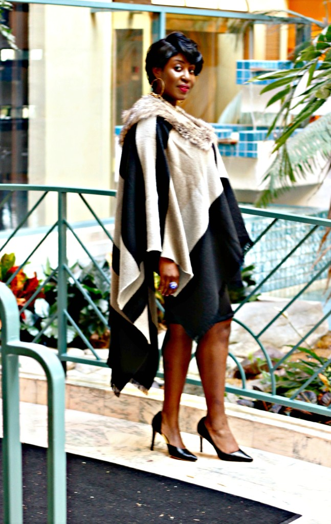 Black and gray Fur Poncho in Fall 10!!!jpg