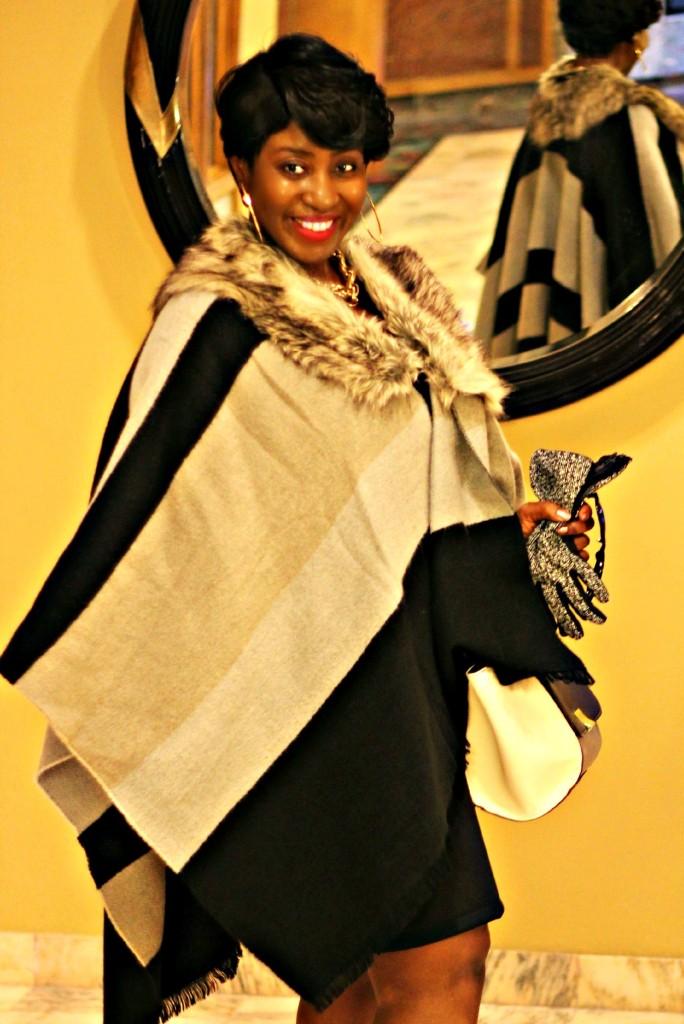 Black and gray Fur Poncho in Fall 12!!!jpg