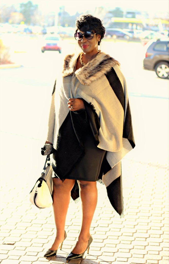 Black and gray Fur Poncho in Fall 13jpg