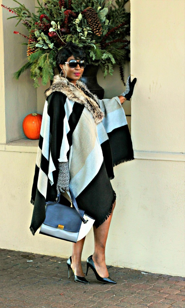 Black and gray Fur Poncho in Fall 8jpg