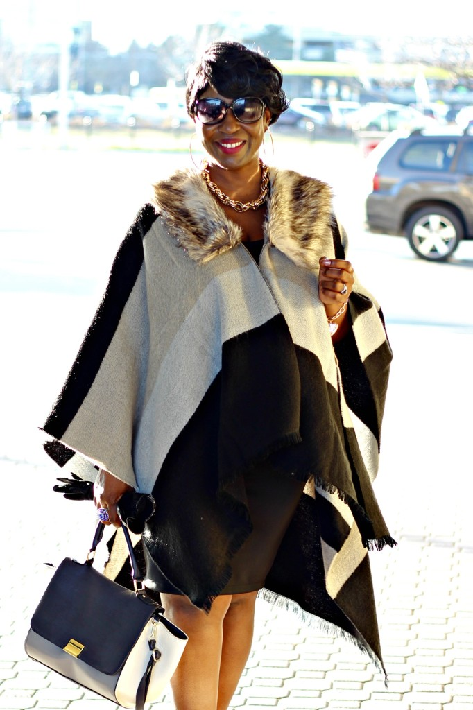 Black and gray Fur Poncho in Fall15!!