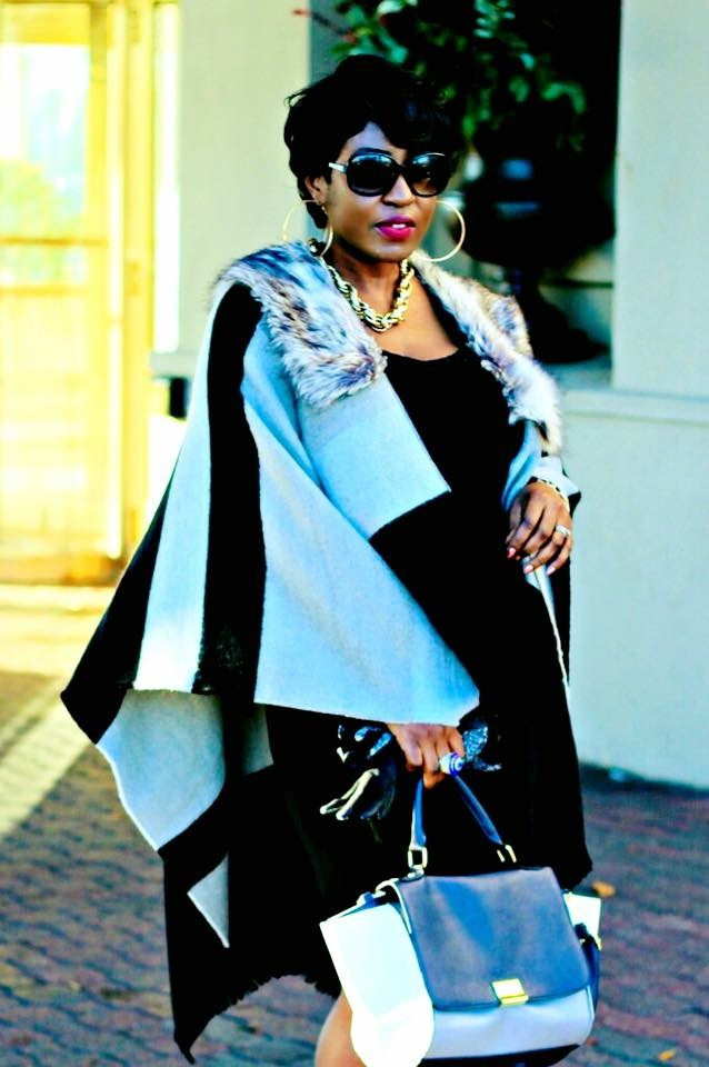 Black and grey fur poncho