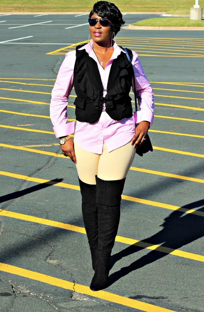 Black vest and OTK boots13