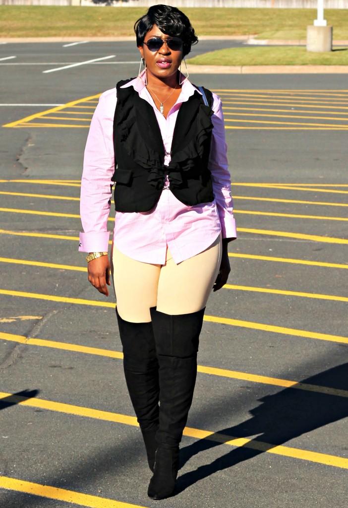 Black vest and OTK boots7