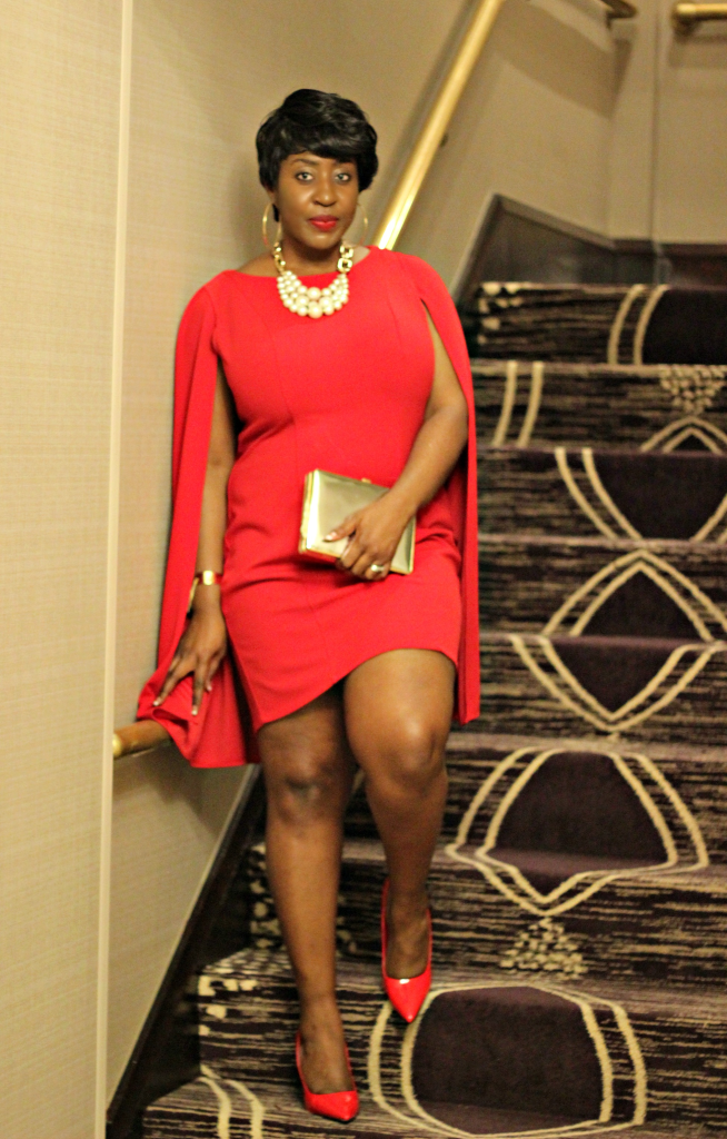 Lady in red and cape 12