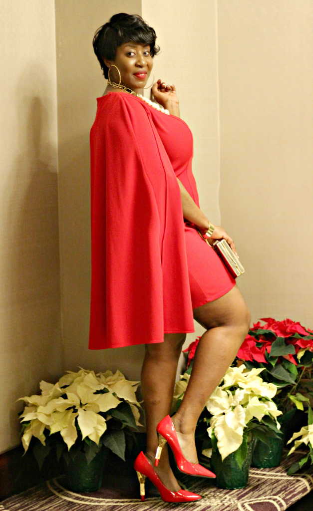 Red cape holiday dress png