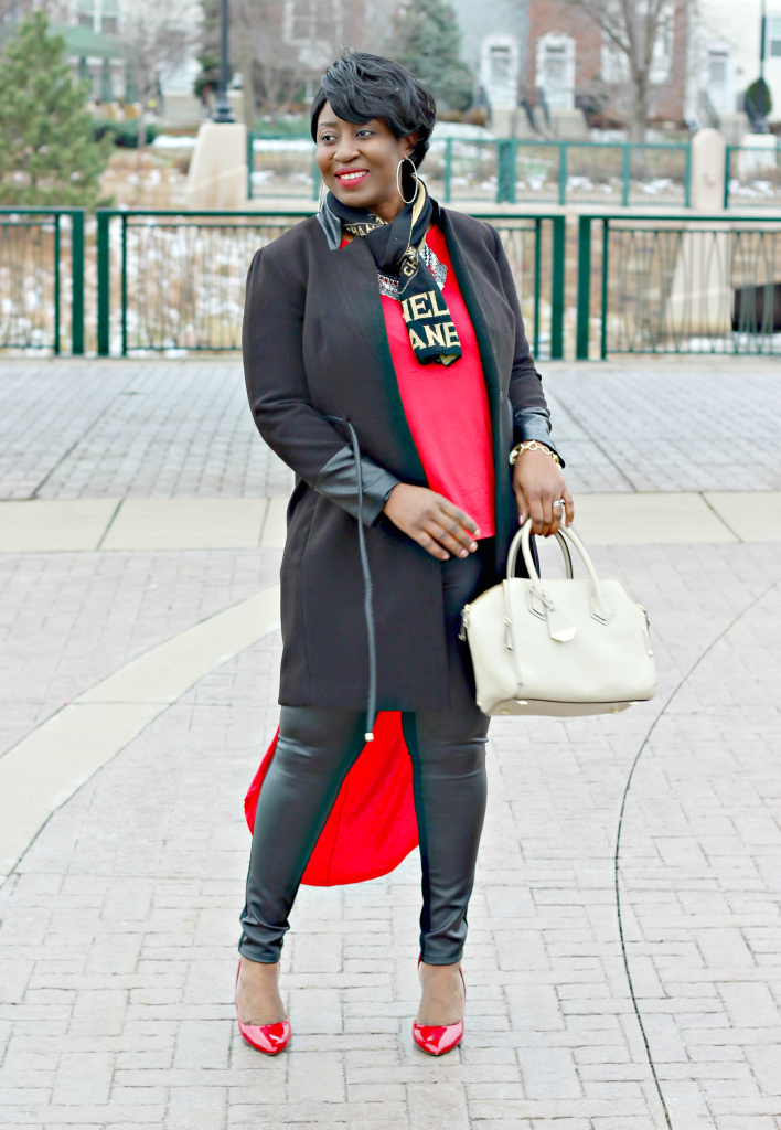 red and black fashion look