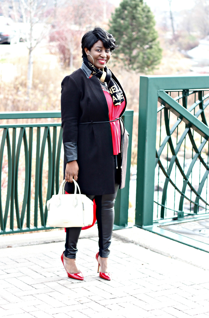red high low duster and black coat and leather pants