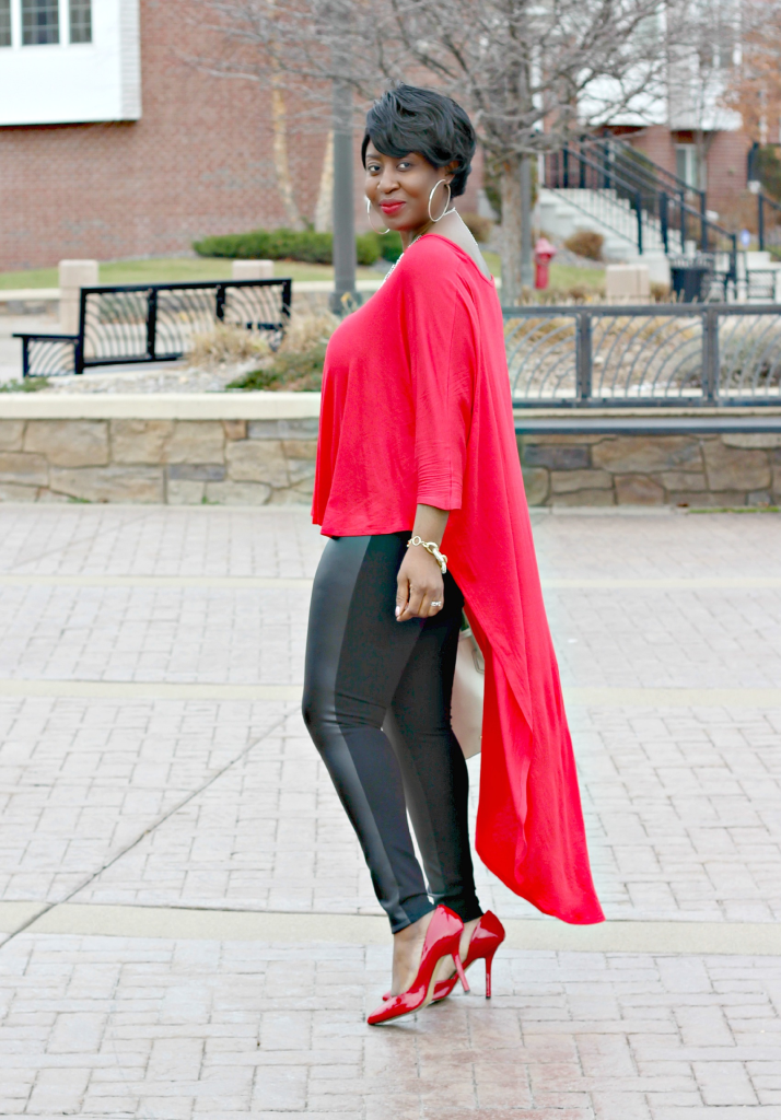 red high low shirt and leather skinnies