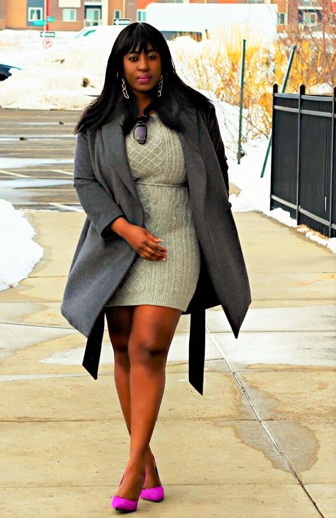 All gray coat dress spring winter fushia shoes