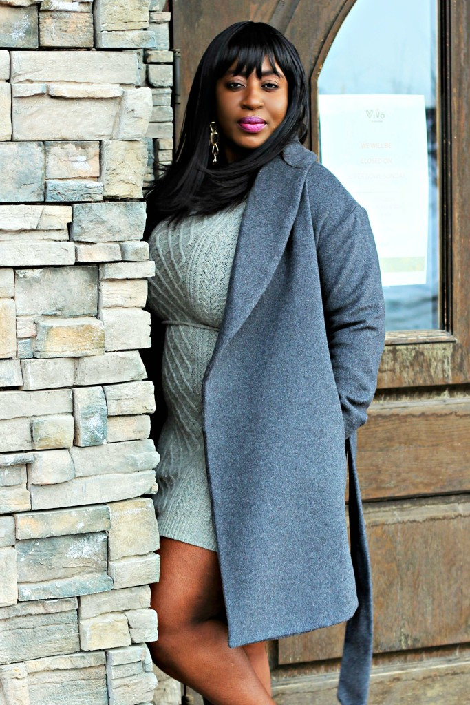 Gray Sweater dress and Coat 90