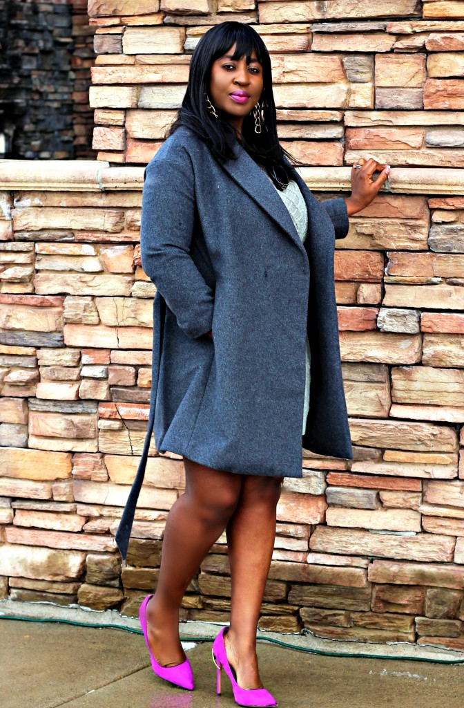 Gray Sweater dress and Coat4