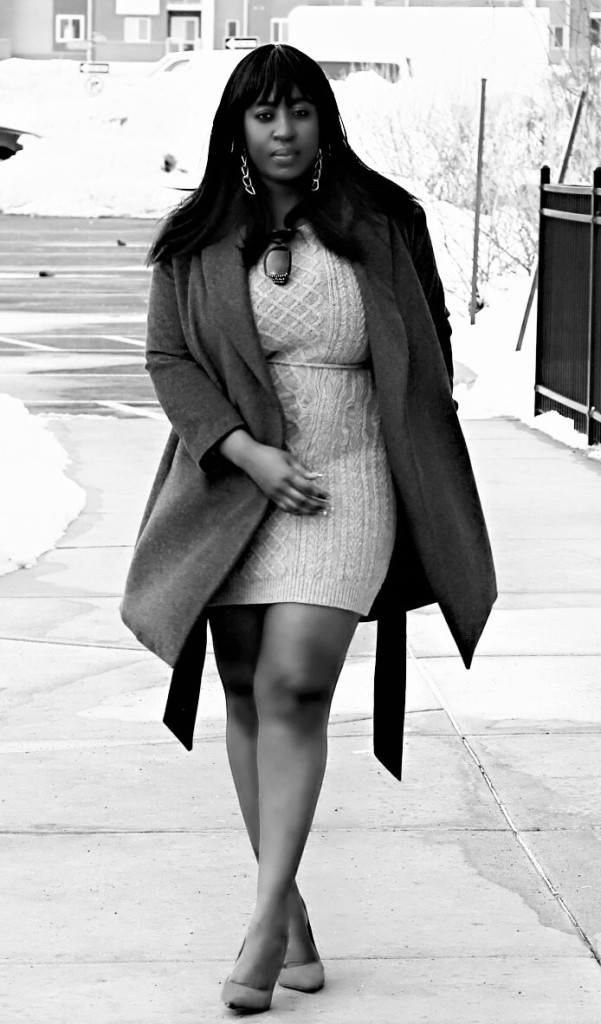 all gray black and white fashion blogger cat walk