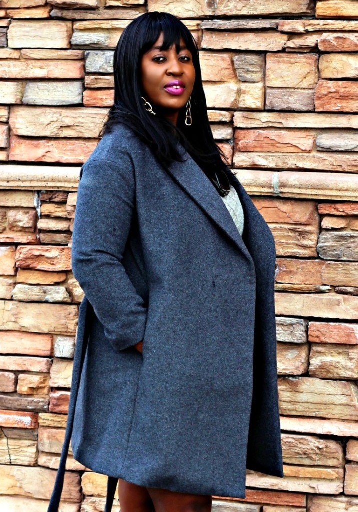 all gray coat and dress winter spring outfit