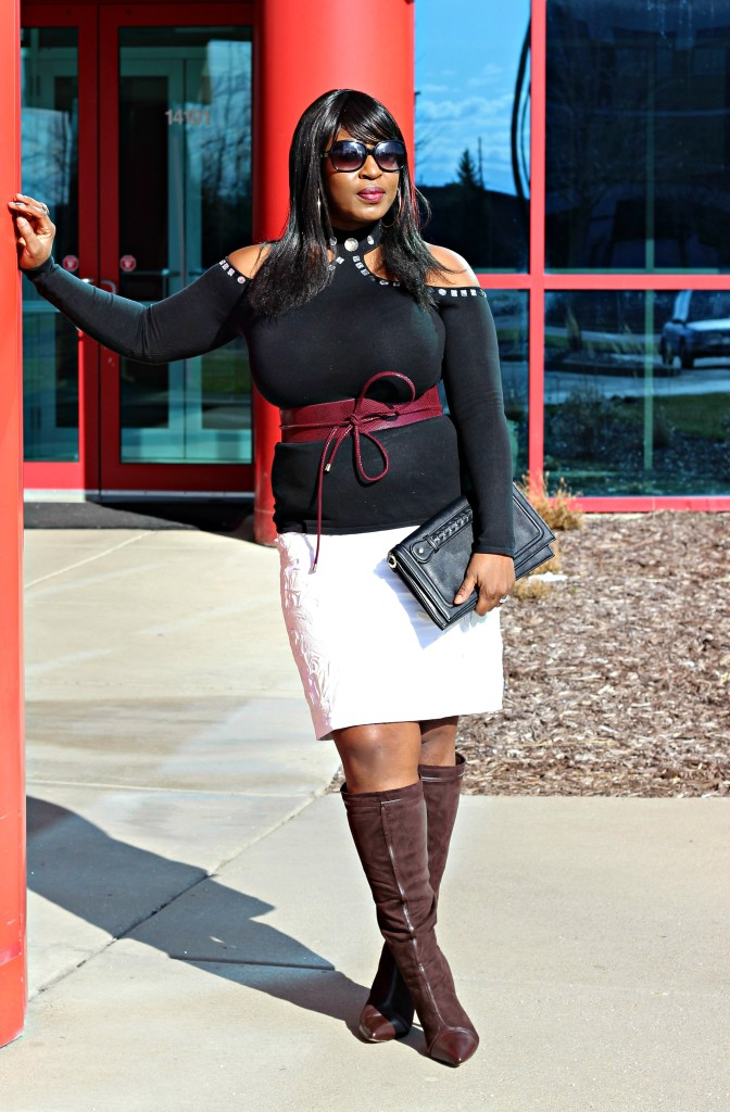 Cold-shoulder-and-boots and off-white-skirt