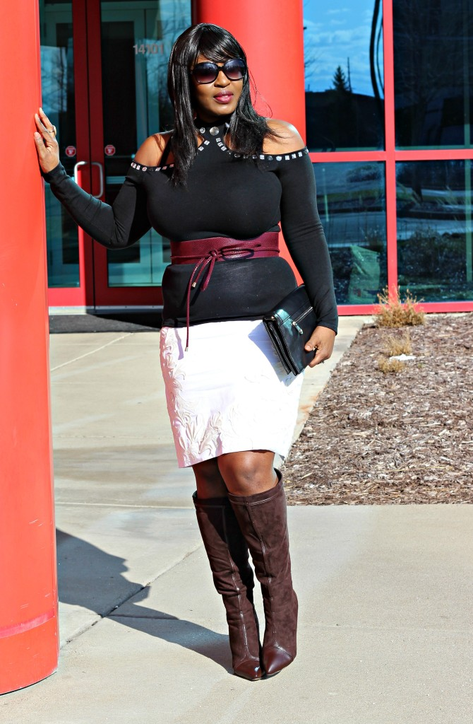 Cold-shoulder-and-boots and off-white-skirt-and belt