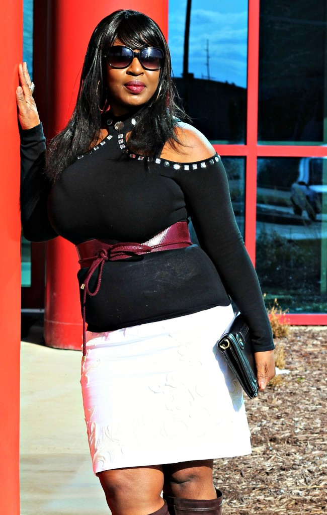 Cold-shoulder-and- burgandy belt and off-white-skirt