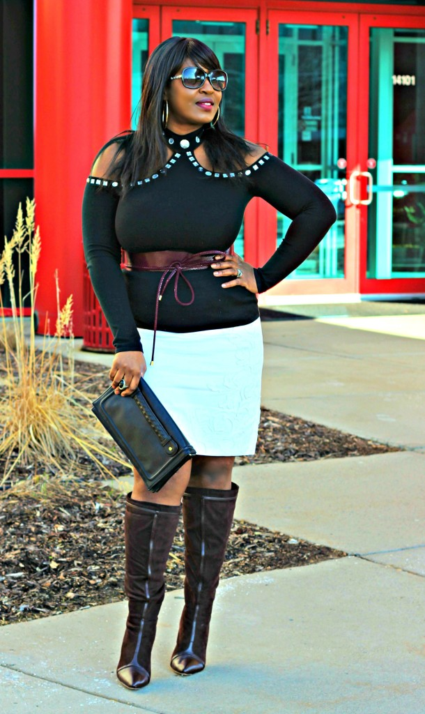 Cold-shoulder-and- burgandy belt and off-white-skirt!!44
