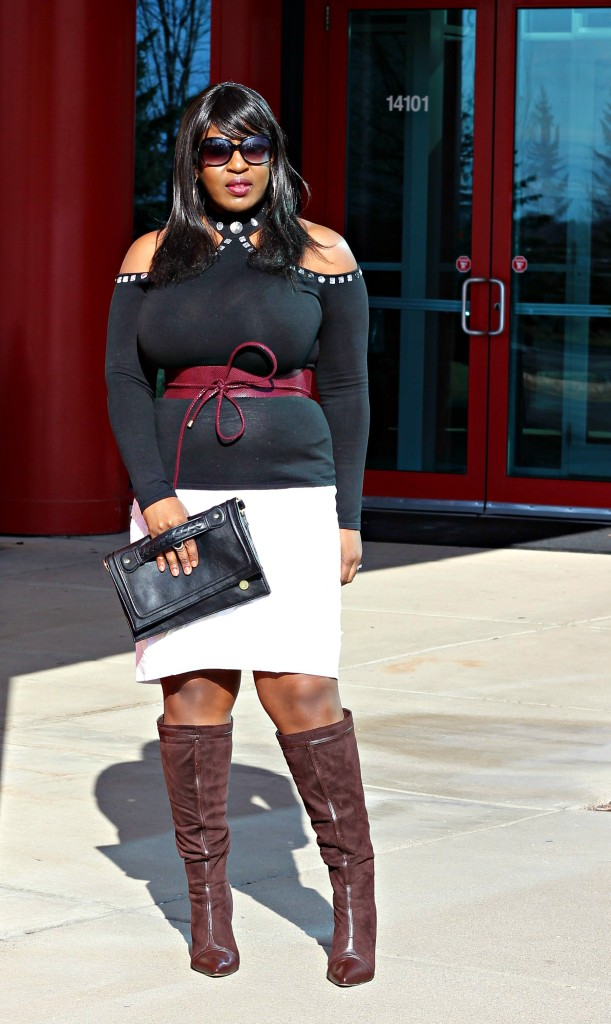 Cold-shoulder-and-off-white-skirt
