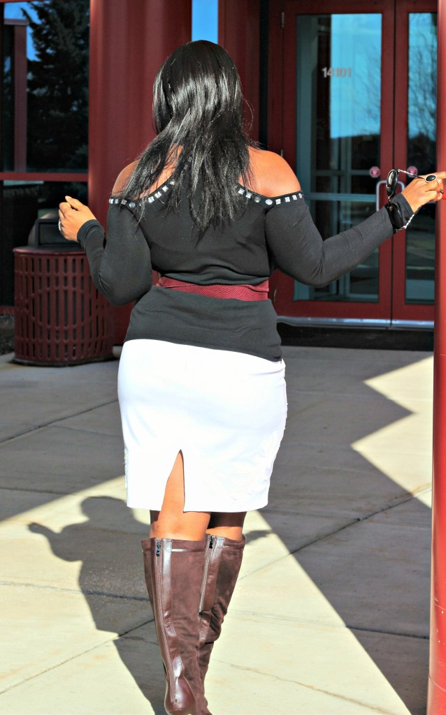 Cold-shoulder-and-off-white-skirt-and OTK from back