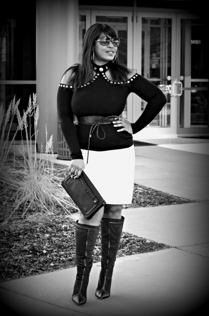 Cold-shoulder-and-off-white-skirt-black and white
