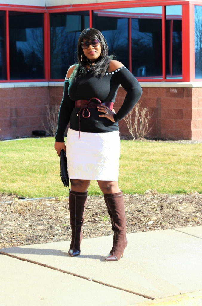Cold shoulder top and applique skirt 212