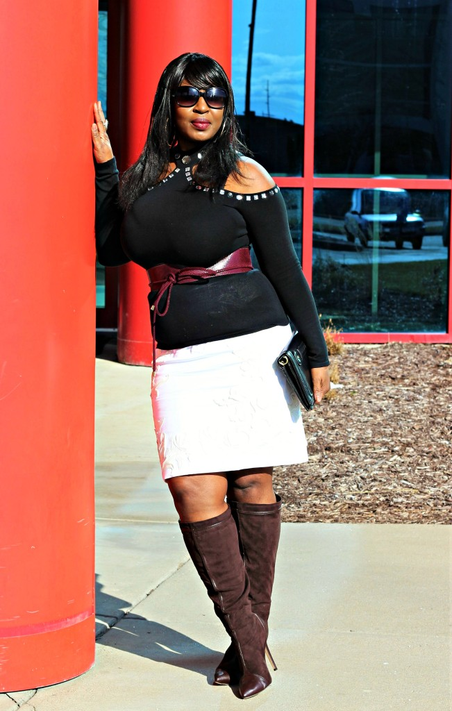 Cold shoulder top and applique skirt and boots 2